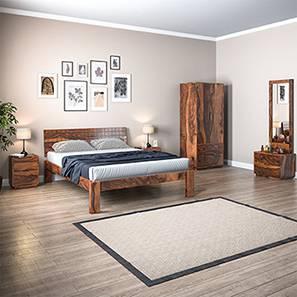Valencia Complete Bedroom Set (Teak Finish, King Bed Size) by Urban Ladder