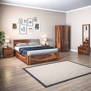 Valencia Complete Storage Bedroom Set (Teak Finish, King Bed Size) by Urban Ladder