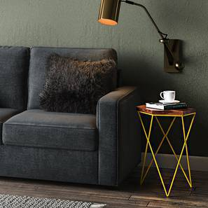 Dyson Hex Side Table (Teak Finish, Yellow) by Urban Ladder