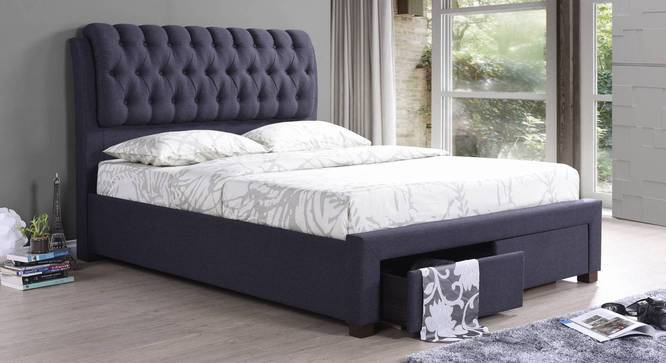 Cassiope Upholstered Storage Bed (King Bed Size, Charcoal Grey) by Urban Ladder