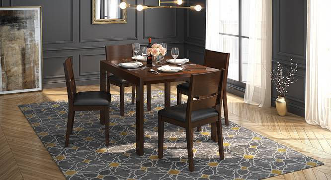 Vanalen 4 to 6 Extendable - Cabalo (Leatherette) 4 Seater Glass Top Dining Table Set (Black, Dark Walnut Finish) by Urban Ladder