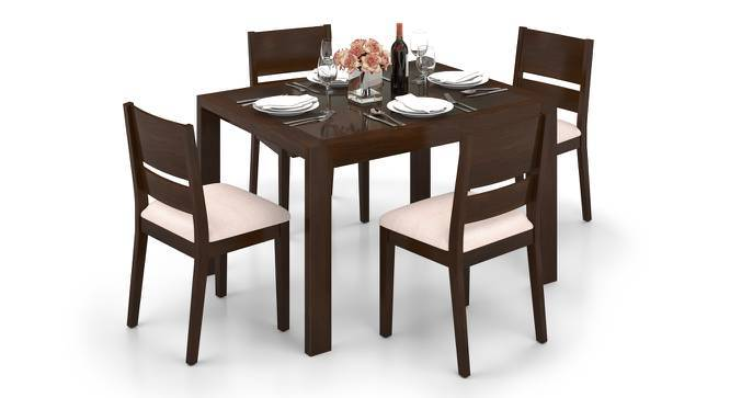 Vanalen 4 to 6 Extendable - Cabalo (Fabric) 4 Seater Glass Top Dining Table Set (Beige, Dark Walnut Finish) by Urban Ladder