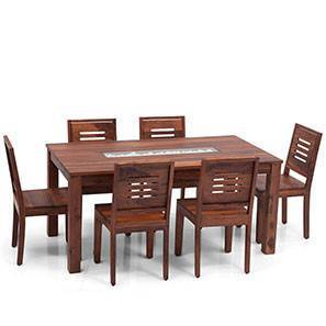 Brighton Large - Capra 6 Seater Dining Table Set (Teak Finish) by Urban Ladder