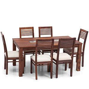 *Old*Brighton-Zella 6 Seater Dining Table Set (Teak Finish) by Urban Ladder