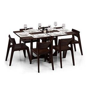 Danton 3-to-6 - Gordon 6 Seat Folding Dining Table Set (Mahogany Finish) by Urban Ladder