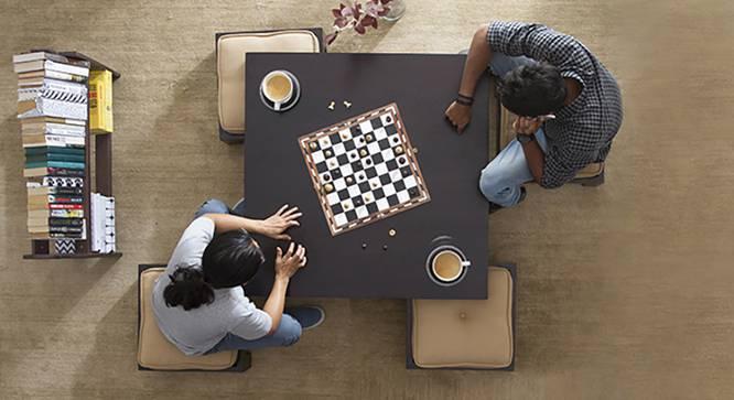 Kivaha 4-Seater Coffee Table Set (Ebony Finish, Beige) by Urban Ladder