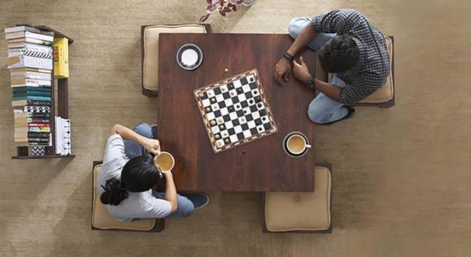 Kivaha 4-Seater Coffee Table Set (Walnut Finish, Beige) by Urban Ladder