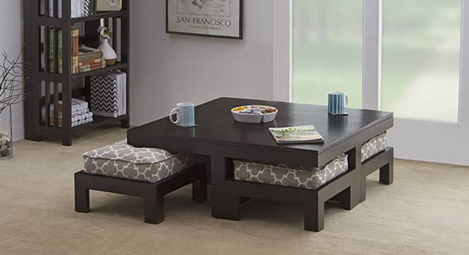 Kivaha 4-Seater Coffee Table Set (Ebony Finish, Morocco Lattice Beige) by Urban Ladder