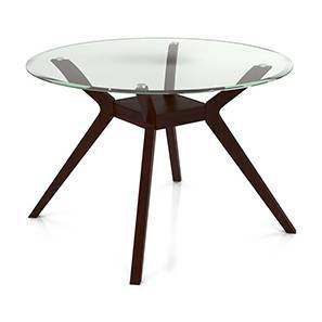 Wesley 4 Seater Round Glass Top Dining Table (Dark Walnut Finish) by Urban Ladder