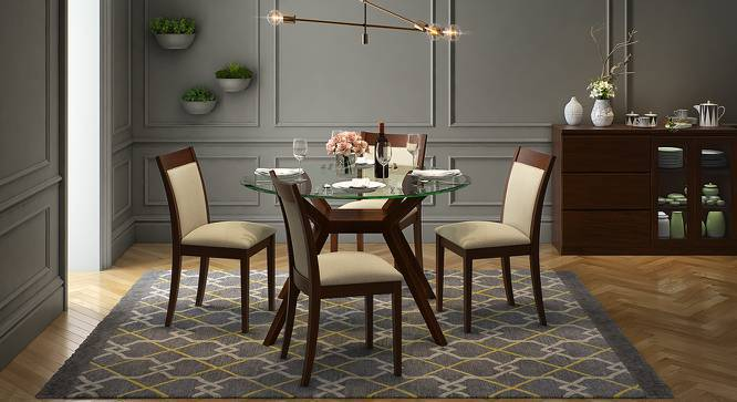 Wesley - Dala 4 Seater Round Glass Top Dining Table Set LB