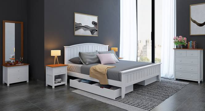 Wichita - Evelyn Storage Master Bedroom Set (Queen Bed Size, White Finish) by Urban Ladder