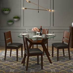 Wesley - Cabalo (Leatherette) 4 Seater Round Glass Top Dining Table Set (Black, Dark Walnut Finish) by Urban Ladder