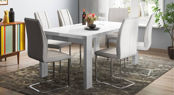 Kariba - Seneca 6 Seater High Gloss Dining Table Set (White Finish) by Urban Ladder