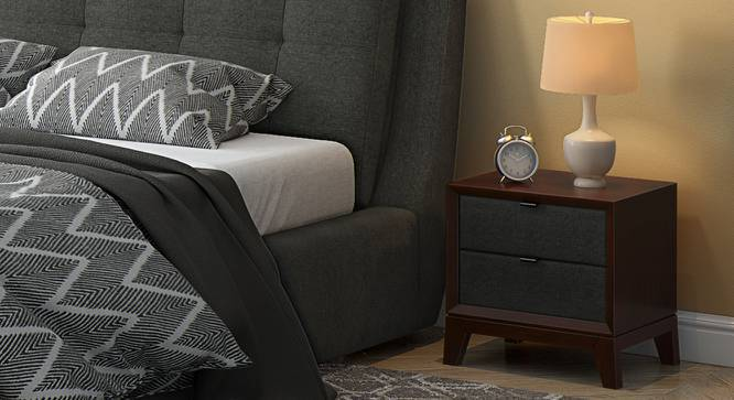 Martino Upholstered Bedside Table (Dark Walnut Finish, Charcoal Grey) by Urban Ladder
