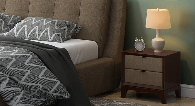Martino Upholstered Bedside Table (Dark Walnut Finish, Mist Brown) by Urban Ladder
