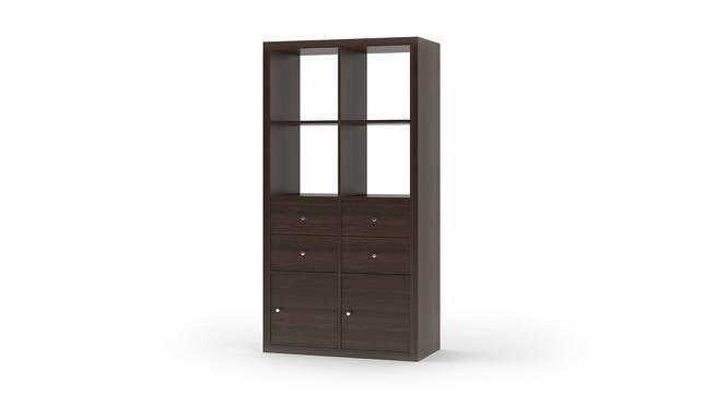 Boeberg Bookshelf (Dark Walnut Finish, 4 x 2 Configuration, 2 Cabinet, 2 Drawers Inserts) by Urban Ladder
