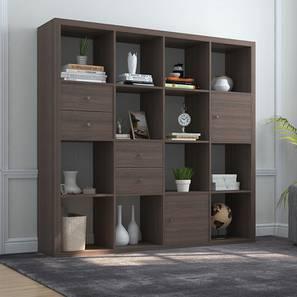 Boeberg Bookshelf (Dark Walnut Finish, 4 x 4 Configuration, 2 Cabinet, 2 Drawers Inserts) by Urban Ladder