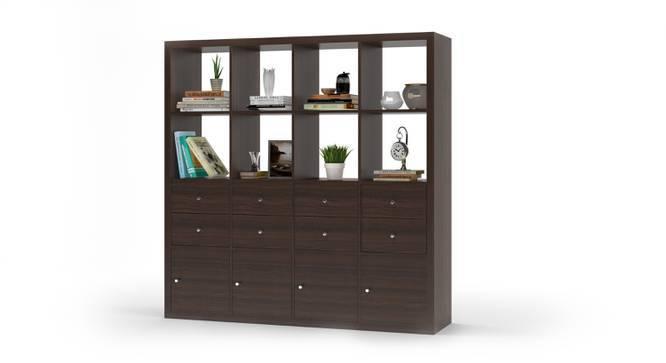 Boeberg Bookshelf (Dark Walnut Finish, 4 x 4 Configuration, 4 Cabinet, 4 Drawers Inserts) by Urban Ladder