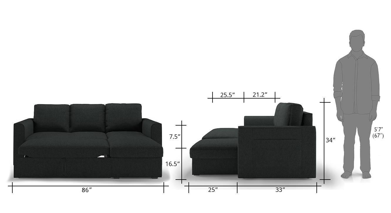 Kowloon sofa cum bed charcoal grey 14 copy