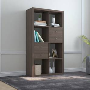 Boeberg Bookshelf (Dark Walnut Finish, 4 x 2 Configuration, 2 Drawers Inserts) by Urban Ladder