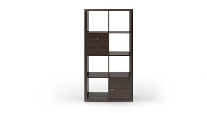 Boeberg Bookshelf (Dark Walnut Finish, 4 x 2 Configuration, 1 Cabinet, 1 Drawers Inserts) by Urban Ladder