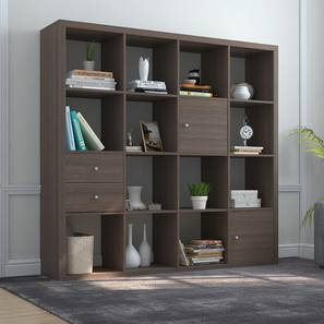 Boeberg Bookshelf (Dark Walnut Finish, 4 x 4 Configuration, 2 Cabinet, 1 Drawers Inserts) by Urban Ladder