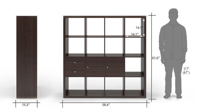 Boeberg Bookshelf (Dark Walnut Finish, 4 x 4 Configuration, 2 Cabinet, 1 Drawers Inserts) by Urban Ladder