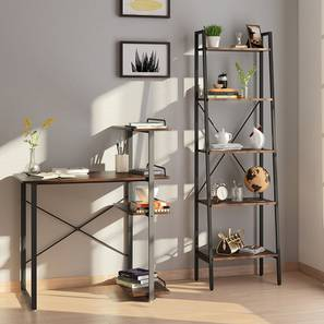 Wallace Study Table - Bookshelf Bundle (Wenge Finish, Standard Bookshelf) by Urban Ladder