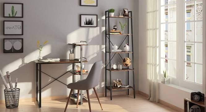 Wallace Study Table - Bookshelf Bundle (Wenge Finish, Standard Bookshelf) by Urban Ladder