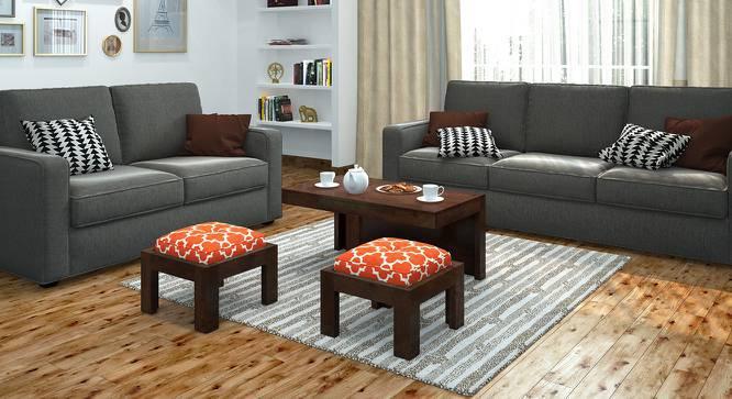 Kivaha 2-Seater Coffee Table Set (Walnut Finish, Morocco Lattice Rust) by Urban Ladder
