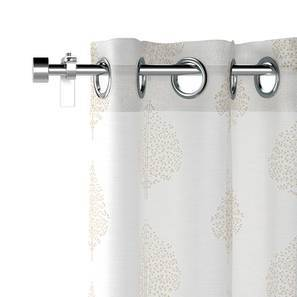 "Aspen Embroidered Sheer Curtains - Set Of 2 (Ivory, 52""x84"" Curtain Size) by Urban Ladder"