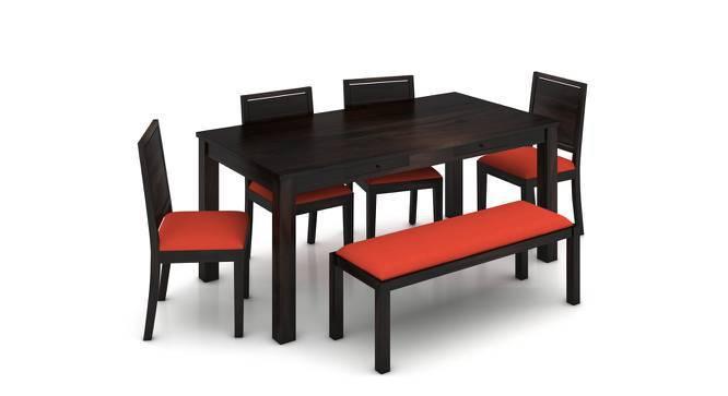 Arabia XL Storage - Oribi 6 Seater Dining Table Set (With Upholstered Bench) (Mahogany Finish, Burnt Orange) by Urban Ladder