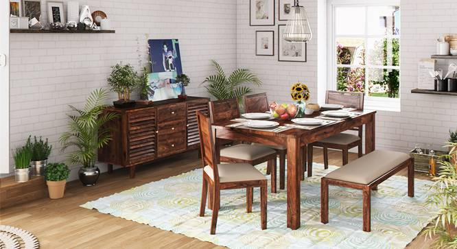 Arabia XL Storage - Oribi 6 Seater Dining Table Set (With Upholstered Bench) (Teak Finish, Wheat Brown) by Urban Ladder