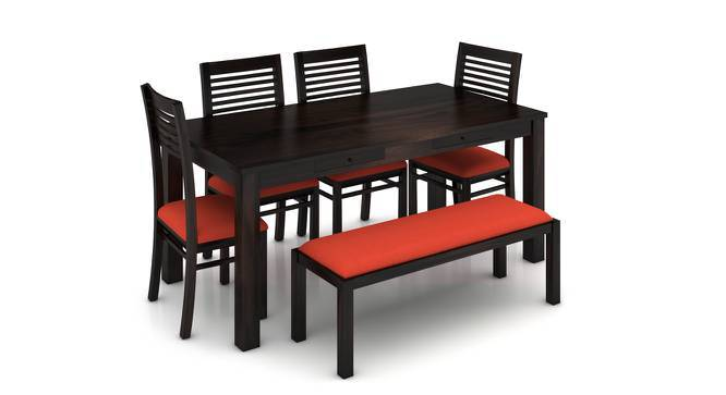 Arabia XL Storage - Zella 6 Seater Dining Table Set (With Upholstered Bench) (Mahogany Finish, Burnt Orange) by Urban Ladder
