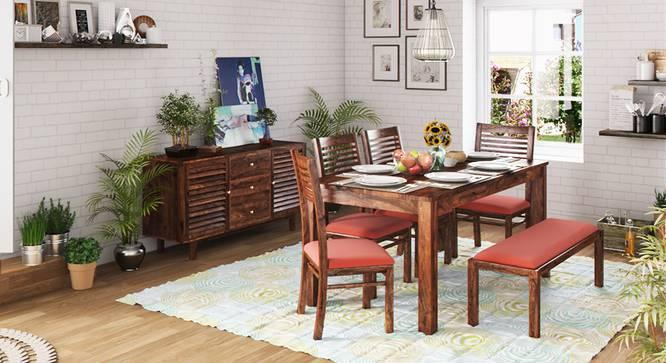 Arabia XL Storage - Zella 6 Seater Dining Table Set (With Upholstered Bench) (Teak Finish, Burnt Orange) by Urban Ladder