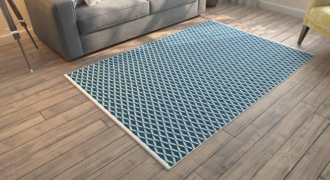 "Amaro Dhurrie (48"" x 72"" Carpet Size, Blue & White) by Urban Ladder"