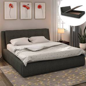Stanhope Hydraulic Bed with Mattress (King Bed Size, Charcoal Grey) by Urban Ladder