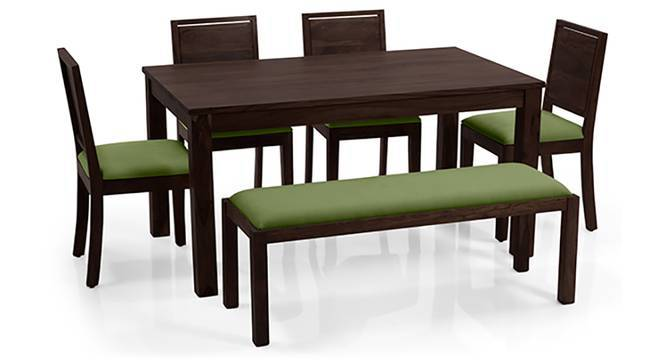 Arabia - Oribi 6 Seater Dining Set (With Bench) (Mahogany Finish, Avocado Green) by Urban Ladder