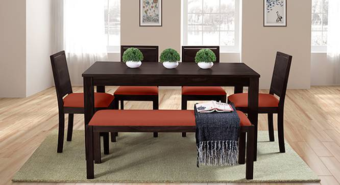 Arabia XL - Oribi 6 Seater Dining Set (With Bench) (Mahogany Finish, Burnt Orange) by Urban Ladder
