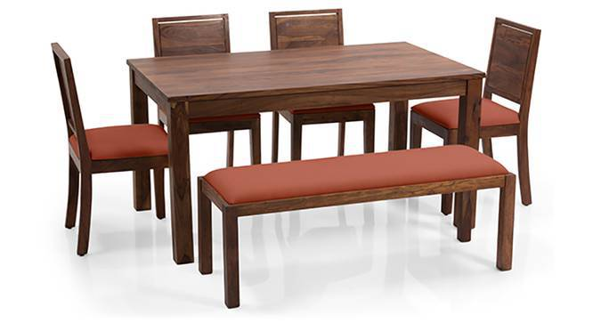 Arabia XL - Oribi 6 Seater Dining Set (With Bench) (Teak Finish, Burnt Orange) by Urban Ladder