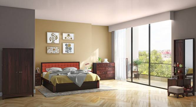 Florence - Magellan Complete Storage Bedroom Set (Mahogany Finish, Queen Bed Size, Lava) by Urban Ladder
