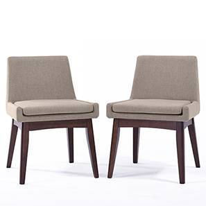 Leon Dining Chairs - Set of 2 (Beige, Dark Walnut Finish) by Urban Ladder