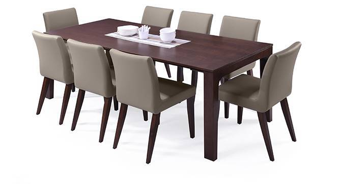 Arco - Persica 8 Seater Dining Table Set (Beige, Dark Walnut Finish) by Urban Ladder
