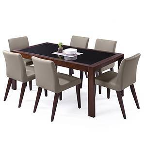 Vanalen 6-to-8 Extendable - Persica 6 Seater Dining Table Set (Beige, Dark Walnut Finish) by Urban Ladder
