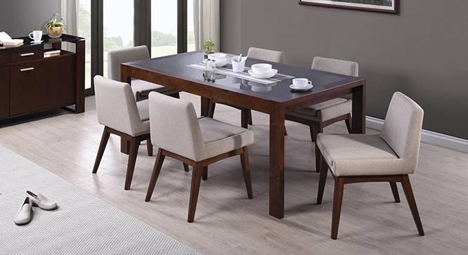 Vanalen 6-to-8 Extendable - Leon 6 Seater Dining Table Set (Beige, Dark Walnut Finish) by Urban Ladder