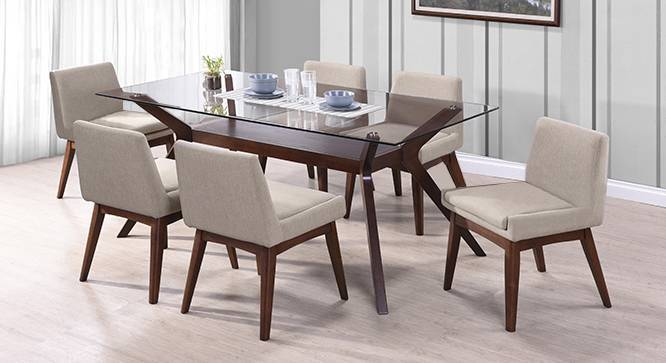 Wesley - Leon Armchair 6 Seater Dining Table Set (Beige, Dark Walnut Finish) by Urban Ladder