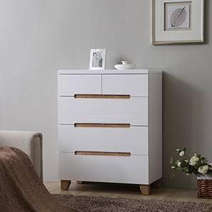 classic fit 02e3d f234f Oslo High Gloss Chest Of Five Drawers(White Finish)