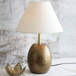 Drachen Table Lamp (Antique Brass Base Finish, White Shade Color, Conical Shade Shape) by Urban Ladder