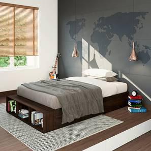 Toshi Platform Storage Bed Compact (Dark Walnut Finish) by Urban Ladder