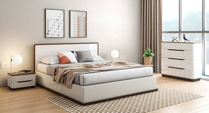Baltoro High Gloss Hydraulic Storage Compact Bedroom Set (King Bed Size, White Finish) by Urban Ladder